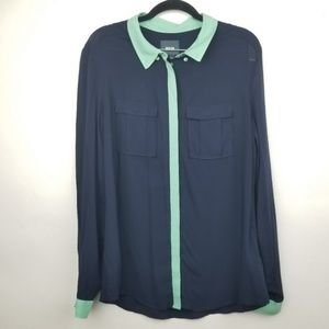 Anthropologie Maeve 12 blue button blouse